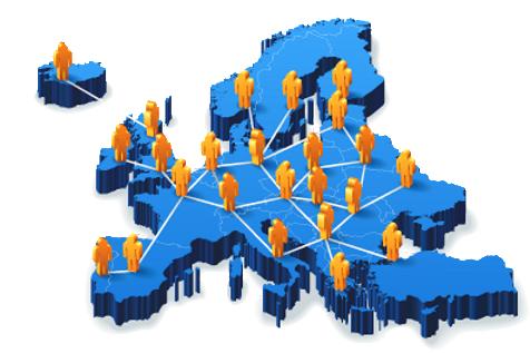 Kép Európa emberekkel, vonalakkal összekötve